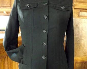 Vintage St. John Sport Jacket By Marie Gray Black Polyester Knit Fitted With Bling Woman's M 1990s
