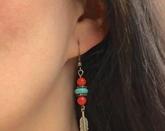 SANTA FE EARRINGS feather charm feather earrings red bamboo coral earrings brass earrings tribal earrings beaded dangle earrings
