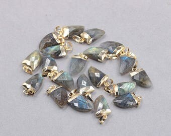 16mm Faceted Labradorite Small Horn Pendants -- With Electroplated Gold Edge Gemstone Charms Wholesale Supplies YHA-328