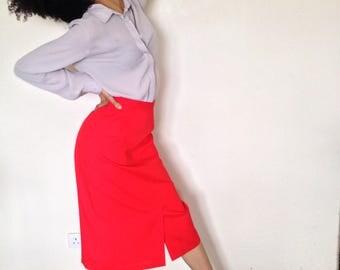 Vtg 90's NEOCLASSICAL red midi pencil skirt XS