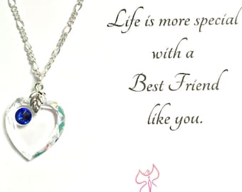 Best Friend Heart Necklace, Gift Necklace, Heart Jewelry, Gift for her, Swarovski, Crystal Necklace