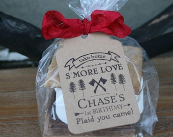 Lumberjack First Birthday, S'More Love -3 TAG COLORS choices w/Bags/Ribbon or twine | Kits ONLY