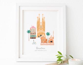 Barcelona City Print - Barcelona Poster - Barcelona Art - Barcelona Skyline - Barcelona Print - Engagement Gift - Anniversary Gift - Travel