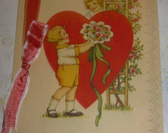 A Valentine Message Vintage 1920s Greeting Card