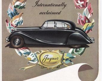 Black Jaguar British 50s car advert Alvis Fourteen transport veteran motoring vintage print home office décor gift for him car lover