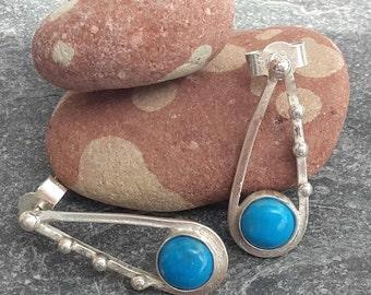 Blue earrings, silver earrings, howlite earrings, gemstone earrings, gift for her, wedding earrings
