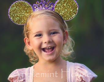 Rapunzel Minnie ears, Rapunzel Minnie Mouse Ears,Rapunzel Ears,Rapunzel birthday ears,Rapunzel costume ears