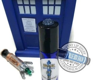 """Sonic Scent - FLOWER POWER - """"Jo Grant"""" Doctor Who Inspired Body Scent - A complex Plumeria & Citrus Fragrance in a Blue Glass Roller Bottle"""