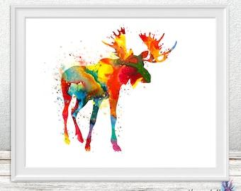 Moose art print - Woodland animal - Moose art - colorful art