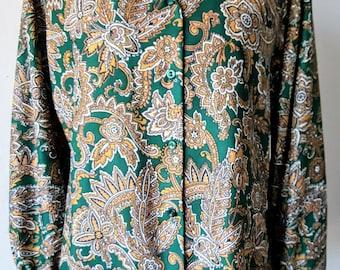 Vintage 60s 70s Mod Floral Button Up/ Long Sleeve Blouse/ Mod Shirt /Boho/ Bohemian/ Hippie/ Disco/ Casual/ Fall/ Winter/ Womens S/ M Cute