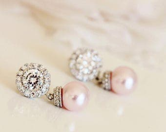 Blush Pink Earrings Blush wedding Jewelry Blush Pink Pearl Earrings Bridal Earrings Pink Bridesmaid Gift Earrings Bridesmaid Jewelry