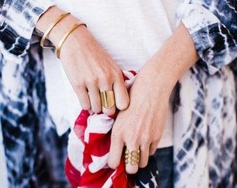 Golden Brass Adjustable WIDE Cuff Bracelet