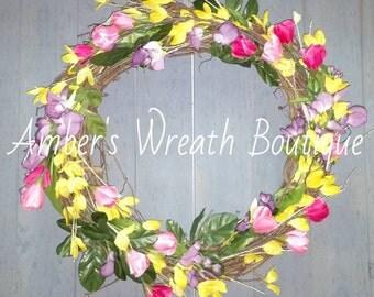 "New Handmade Spring Summer Tulips Pink Yellow Purple Grapevine Wreath 18"""