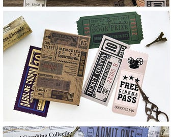 Vintage Style Retro Traval Ticket Postcard set - 28 Cards,  A076
