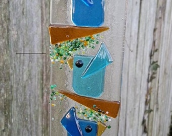 Trio of Birds Handmade Fused Glass Suncatcher