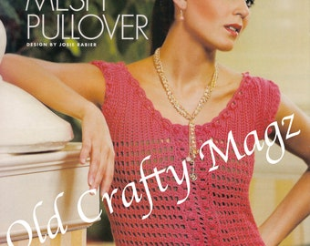 1 Crochet Pattern - Mango Mesh Pullover - (w/ 2 Original Pages from Magazine)