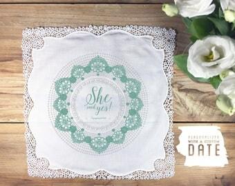 Engagement wedding handkerchief, couple handkerchief, engagement announcement handkerchief, proposal hankie, engagement party handkerchief
