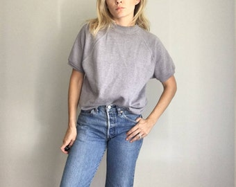 Vintage Heather Gray Soft Thin Short Sleeve Sweatshirt S/M 50/50