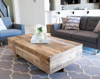 reclaimed wood modern box rustic industrial coffee table living room beach house cabin loft