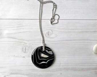 Big Onyx pendant. Big pendant. Long necklace with big gemstone pendant. Onyx pendant. Gemstone coin necklace. Free shipping Gifts for her