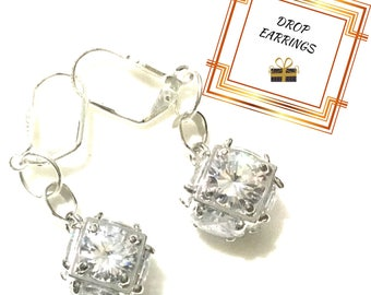 Large Cubed Earrings, Stunning Cubic Zirconia Earrings, Glamorous Earrings, Sweetheart Gift,Anytime Gift, Trendy Gift, Earrings Silver