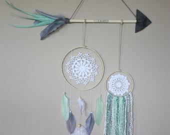 Grey Teal Dream Catcher Feather Arrow-Teal Arrow Decor-Tribal Nursery-Baby Girl Nursery-Scandinavian Modern-Dreamcatcher Set-Kids Room Decor