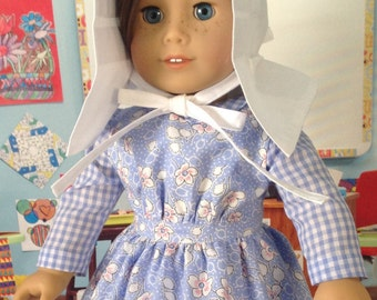 Country girl dress, apron and bonnet, gingham dress, blue floral apron, white slatted bonnet, prairie style dress,  everyday prairie outfit