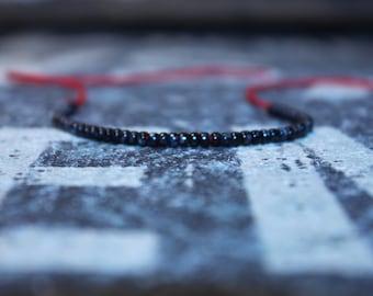 Kabbalah Bracelet  - Black Bracelet - Mens Bracelet Black - Red String, Mens gift for him Husband Gift , Mens Seed Bead