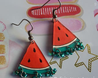 Watermelon crazy shrink plastic earrings in Platinum metal painted fruit seed beads and hand