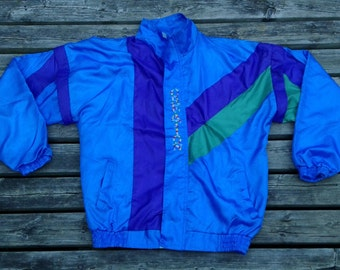 """Vintage 80's / 90's Abstract / Colourful Nylon Windbreaker Jacket """"Casual Creation"""" XL"""