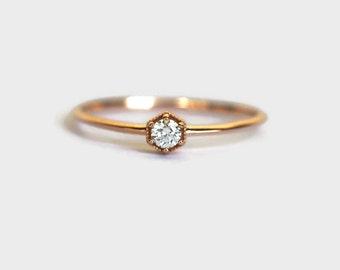 rose gold diamond ring, rose gold diamond engagement ring, hexagon diamond ring, hexagon diamond engagement ring, diamond engagement ring