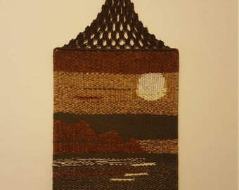 Vintage woven yarn wall hanging sunset desert textile fiber art