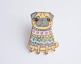 Pug Pin, Winter Jumper Pug Pin, Dog Pin, Pug Gifts, Pug Brooch, Pug Badge, Enamel Lapel Pin, Pug Jewellery, Pug Jewelry, Cute Pug