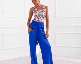 Loose Pants/ Long Pants/ Woman Pants/ Extravagant Pants/ Blue Pants/ Beautiful Pants/ Drop Pants/ Wide Pants/ Friends Fashion