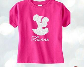 Princess Cinderella Disney Kids T-shirt Personalized Name Costumized Glitter Tee