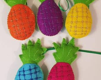 Pineapple Colourful Tropical Felt Handmade Garland
