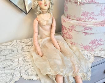 Vintage French Boudoir Doll |Antique Painted Flapper Doll