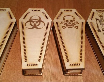 Laser-Cut Coffin Shaped Wooden Boxes