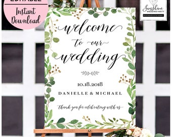 Welcome To Our Wedding, Editable Wedding Signs, Welcome Wedding Sign, Green Leaves Welcome Sign, Green, Printable Welcome Sign, Template