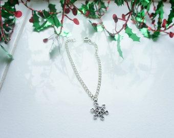 snowflake bracelet, christmas bracelet, snowflake anklet, christmas present, stocking filler, christmas present for her