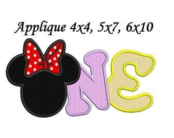 Minnie Birthday Applique - 4 sizes 4,5,6,7 inch instant download - Minnie mouse birthday applique