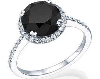 Round Cut Black Diamond Engagement Ring 14k White Gold Or Yellow Halo Art