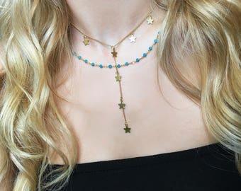 Stella Star Dangle Lariat Dainty Gold Necklace Thin Chain