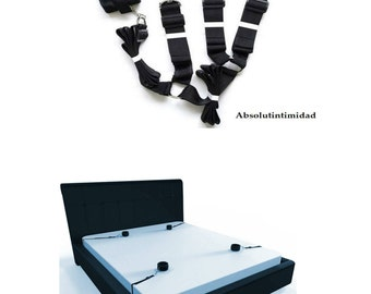 Absolut Intimidad Under Bed Restraint kit   Sex toys for couples & adults   Sex Bondage Straps for Pleasure with comfortable Velcro cuffs