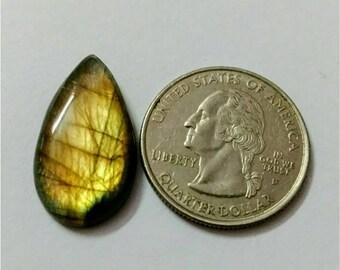 25.60 x 14.35 mm,Pear Shape/Tear Drop Labradorite Cobochon/ Golden Flash/wire wrap stone/Super Shiny/Pendant Cabochon/Semi Precious Gemstone