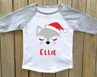 christmas shirt, girls christmas shirt, fox christmas shirt, personalized Christmas shirt, christmas shirts girls, christmas shirts