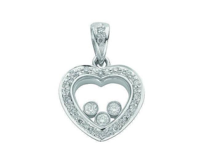 9ct White Gold 0.17ct Floating Diamond Heart Pendant
