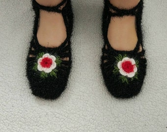 Crochet slippers, Women slippers, Knitted slippers, Slippers, Winter Socks, House Shoe, Turkish Patik, Wool Socks, Hand knit socks