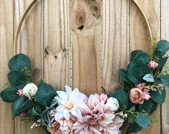 Blush pink hoop wreath | embroidery | home decor | wall decor | wedding | birthday | garden | party | event | gift | modern | nursery