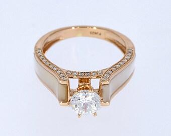 6.00 mm VVS-EF White Moissanite 0.27 ct Natural vs/si-gh Diamond | 10KT/14KT/18KT Rose Gold IGI Certified Ring with White Mother of Pearl